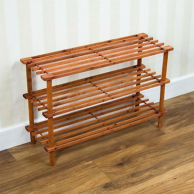 3 Tier Slated Shoe Rack Walnut Wooden Storage Stand Organiser By Home Discount