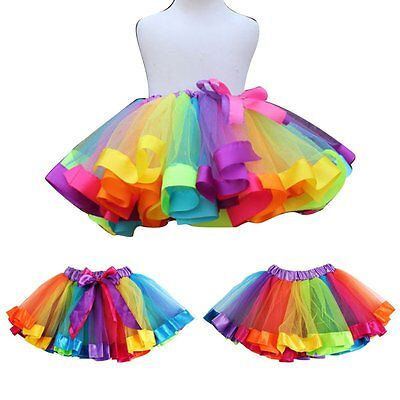 Kids Baby Girls Rainbow Princess Party Ballet Dancewear Tulle Tutu Skirt Dresses