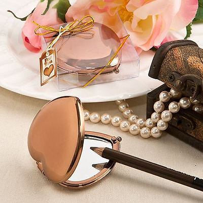 6 X Bronze Metallic Heart Compact Mirror Wedding & Party Bag Filler Favour Gifts