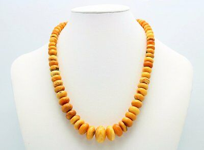 Vintage Genuine Natural Butterscotch Graduated Amber Bead Necklace 32 Grams