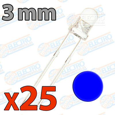 25x LED 3mm AZUL Alto Ultra Brillo ultrabright 20mA diodo diode blue