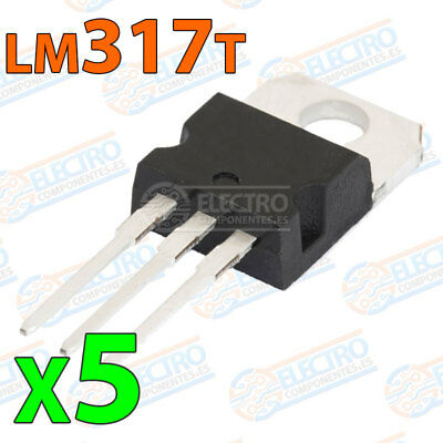 5x LM317 Regulador tension ajustable 1,2v–37v 1,5A positivo variable LM317T