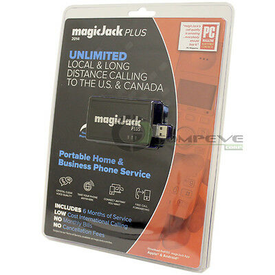 Magic Jack PLUS VoIP WiFi PC Phone Six Months of Service FREE Call Anywhere