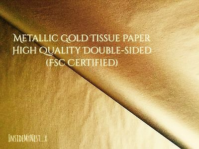 "10 Metallic Gold Tissue Paper Double-Sided Shiny 30x20"" Biodegradable FSC Cert"