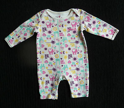Baby clothes GIRL 3-6m Little Animals cream+multi-colour footless babygrow