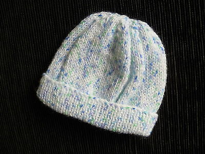 Baby clothes BOY 0-3m white/blue fleck soft hand-knitted hat NEW! SEE SHOP!
