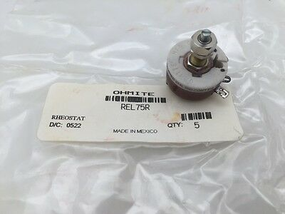 REL75R Ohmite, 12.5 Watt 75 Ohm 305V, Locking Shaft, Linear Rheostat
