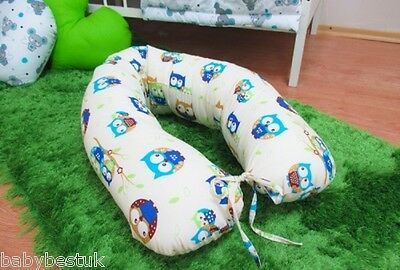 Maternity / Nursing Support Body Pillow with Tie Cord 160cm - OWLS (Beige)