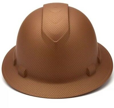 Pyramex Ridgeline Copper Graphite Pattern Full Brim Hard Hat 4 Point Ratchet Sus