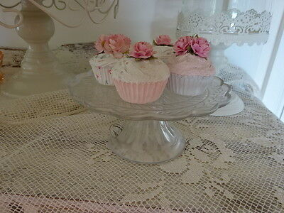 20cm vintage style GLASS CAKE STAND  for cakes party wedding embossed SHABBY