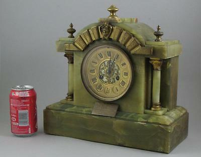Large Antique Scottish Green Onyx Architectural Striking Mantel Clock for Repair