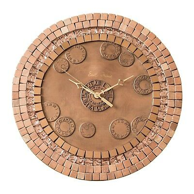 Metal Clock with Glass, Stone, Copper Tiles.Silent. Copper Finish.