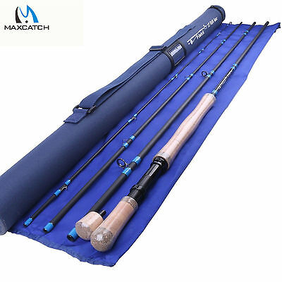 5/6/7WT Switch Fly Rod Medium-Fast Fly Fishing Rod & 2 Switchable Fighting Butt