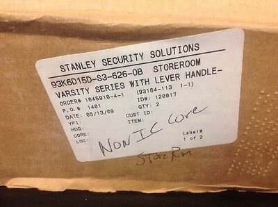 Stanley  Storeroom Function 2-3/4 Set Back Varsity Lever Lock NEW With Key