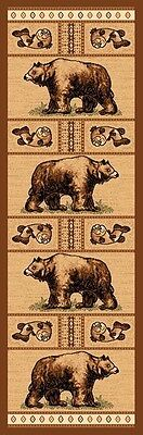 2X7 Runner Country Theme Large Bear Bears  Brown  Rug