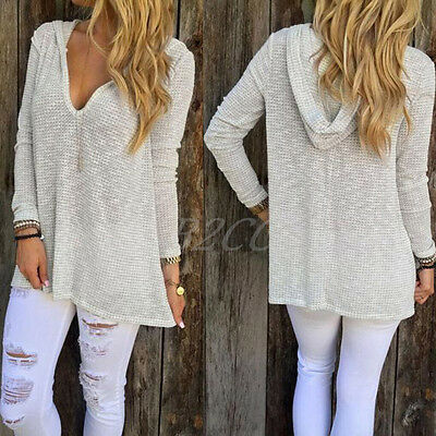 Fashion Winter Women Blouse V Neck Long Sleeve Shirt Knitted Casual Loose Tops