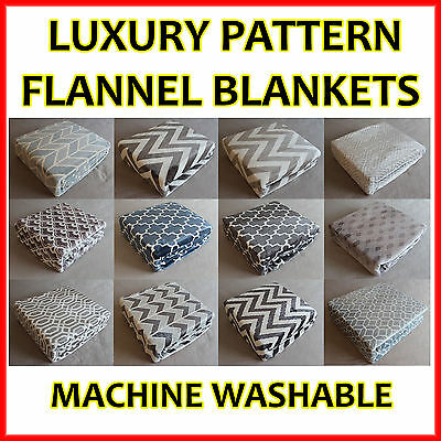 New Luxury Plush Flannel 300GSM Blanket Double Queen King Size Warm Soft