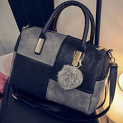 Women Leather Handbag Shoulder Purse Satchel Messenger Crossbody Bag Tote Black