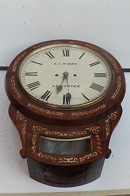 Wall Clock Double Fusse Victorian Leicester Clock mother of Pearl in rosewood. • £1,250.00