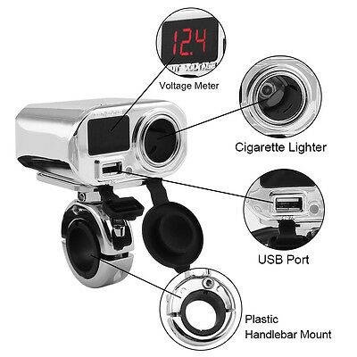 Waterproof Motorcycle 3 in 1 Electronics Power point with USB Charger & Display