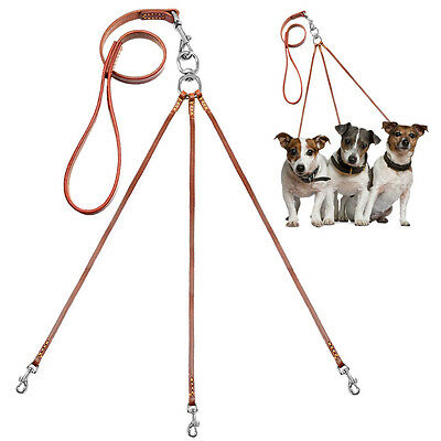 Triple Coupler Leather Dog Walking Lead Leash with Handle No Tangle for 3 Dogs