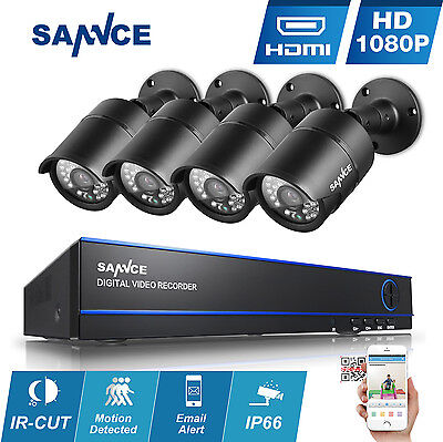 SANNCE 1080P 3000TVL Outdoor 24IR CCTV 4CH DVR Video Home Security Camera System
