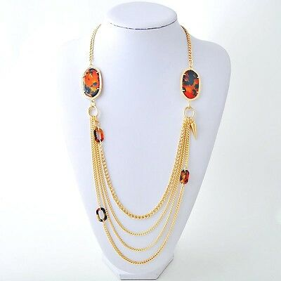 NEW Designer Style Gold Faux Tortoise Shell Charm Strand Chain Link Necklace