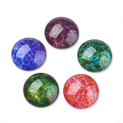 10pcs Transparent Spray Painted Glass Cabochons Dome Flat Round Mixed Colour