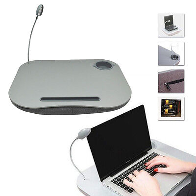 Portable Laptop Cushion Reading Lap Top Table Tray With Cup Holder & 5 Led Light