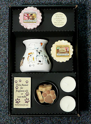 Dog lovers oil burner gift set paw shape melts, tealights,2 x yankee wax melts
