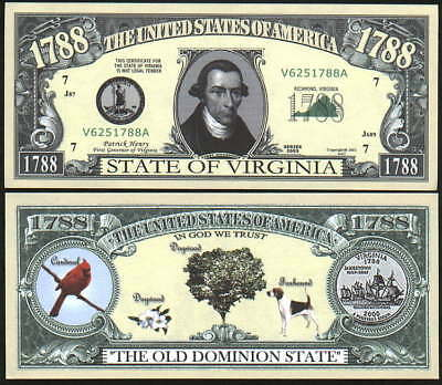 VIRGINIA STATE QUARTER NOVELTY BILL - Lot of 10 Bills