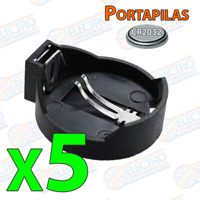 5x Portapilas pila BOTON CR2032 CR2016 CR2020 CR2025 battery holder