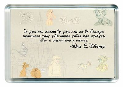 Walt Disney Lesson Start Dream Cartoon Mouse Quote Saying Gift Fridge Magnet
