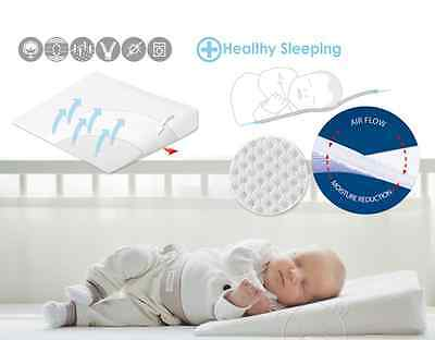 Baby Crib Safety 2in1 Wedge Pillow Prevents Reflux + Flat Head Syndrome 40x36cm