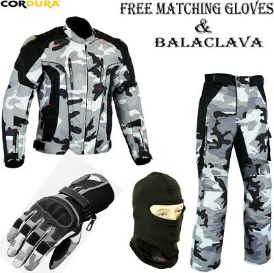Camo Hawk Mens Armored Motorbike Motorcycle Textile Jacket Trousers Gloves Suit