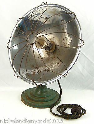 """Vintage 1940's Green Electric Radiant Cage Heater 12"""" Portable Gets HOT!"""