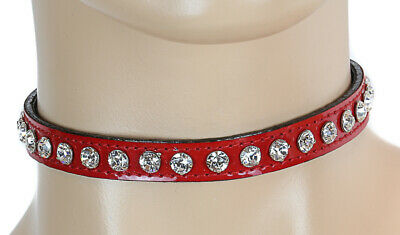Crystal Rhinestone Choker Patent Red Punk Goth Rockabilly Collar