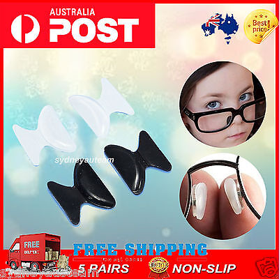 Lots 5 Pairs Silicon non Slip Stick On Nose Pads for Eyeglass Sunglass Glasses