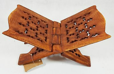 "10"" Pakistan Wood Crafts Sheesham Book Holder/Carving Islamic Holy Quran Holder"