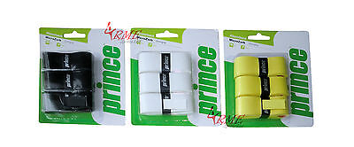 Prince MicroZorb Racket Overgrip (Available in Black, White, Yellow) - 3 Pack