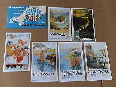 """GWR Posters of Cornwall - Set of 6 Postcards in Envelope 936 (6""""x4"""")"""