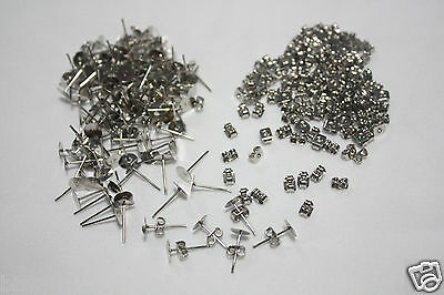 11mm Stainless Steel stud earring metal flathead posts pin backs Blank DIY Craft