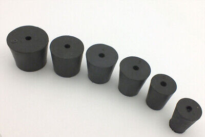Rubber Laboratory Stoppers 1-hole Assortment in Sizes:1 2 3 4 5 6 #RS-ASST3