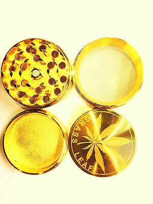 Gold Grass Leaf 50Mm Shark Teeth 4 Part Grinder Herb Weed Pollinator/crystal