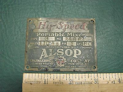Vtg Brass Hy-Speed Portable Mixer Alsop Engineering Industrial Plate Tag Sign