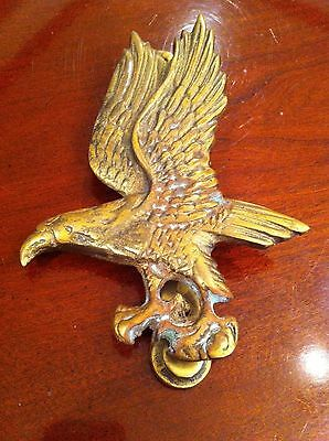 Vintage Architectural Cast Brass Bald Golden Eagle Prey Bird Door Knocker