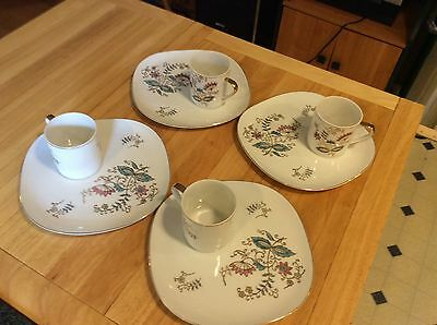 Mid-Century 4 Sets of Handpainted Floral Design Plates with Matching Cups Retro
