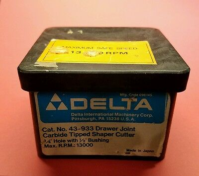 "DELTA 43-933 Drawer Joint Carbide Tipped Shaper Cutter 3/4"" Hole 1/2"" Bushing"