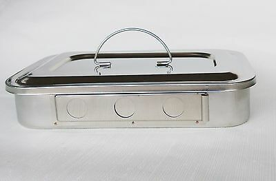STAINLESS STEEL INSTRUMENT TRAY WITH LID MEDICAL DENTAL TATTOO sterilising trays