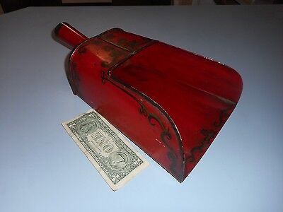 Large Antique Vintage Hardware Coal Scoop Heavy Metal Hand Painted.